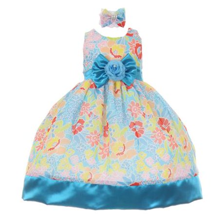Baby Girls Turquoise Sash Multi Colored Special Occasion Dress 18M