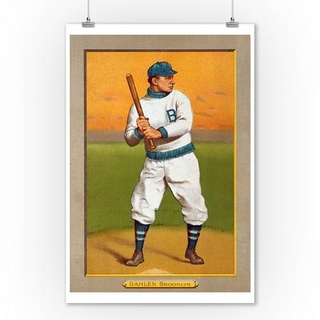 Brooklyn Dodgers - Bill Dahlen - Baseball Card (9x12 Art Print, Wall Decor Travel Poster) 1951 Brooklyn Dodgers