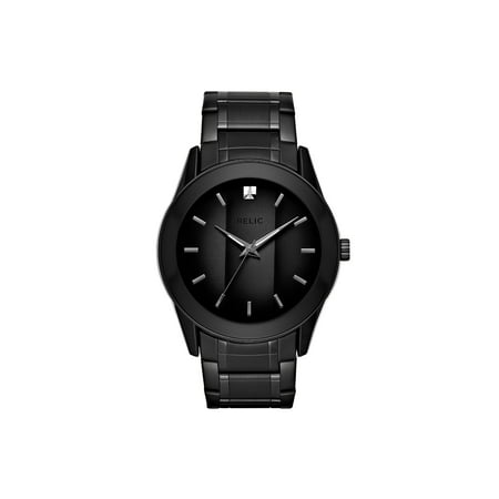 Relic By Fossil Men's Rylan Black Stainless Steel Diamond Accent (Guess Black Diamond Accent Watch)