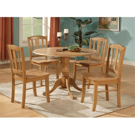 East West Furniture DLIN3-OAK-W Dublin 3PC Set - Round Table with two 9 in. Drop Leaves and 2 Vertical slat back wood seat (Round Dining Table With Leaf Seats 8)