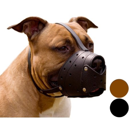 Pit Bull PitBull Terrier Secure Basket Dog Muzzle Genuine Leather Staffordshire Terrier, Black