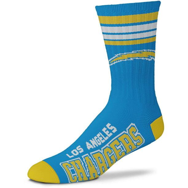 For Bare Feet Los Angeles Chargers Mens 4 Stripe Deuce Socks