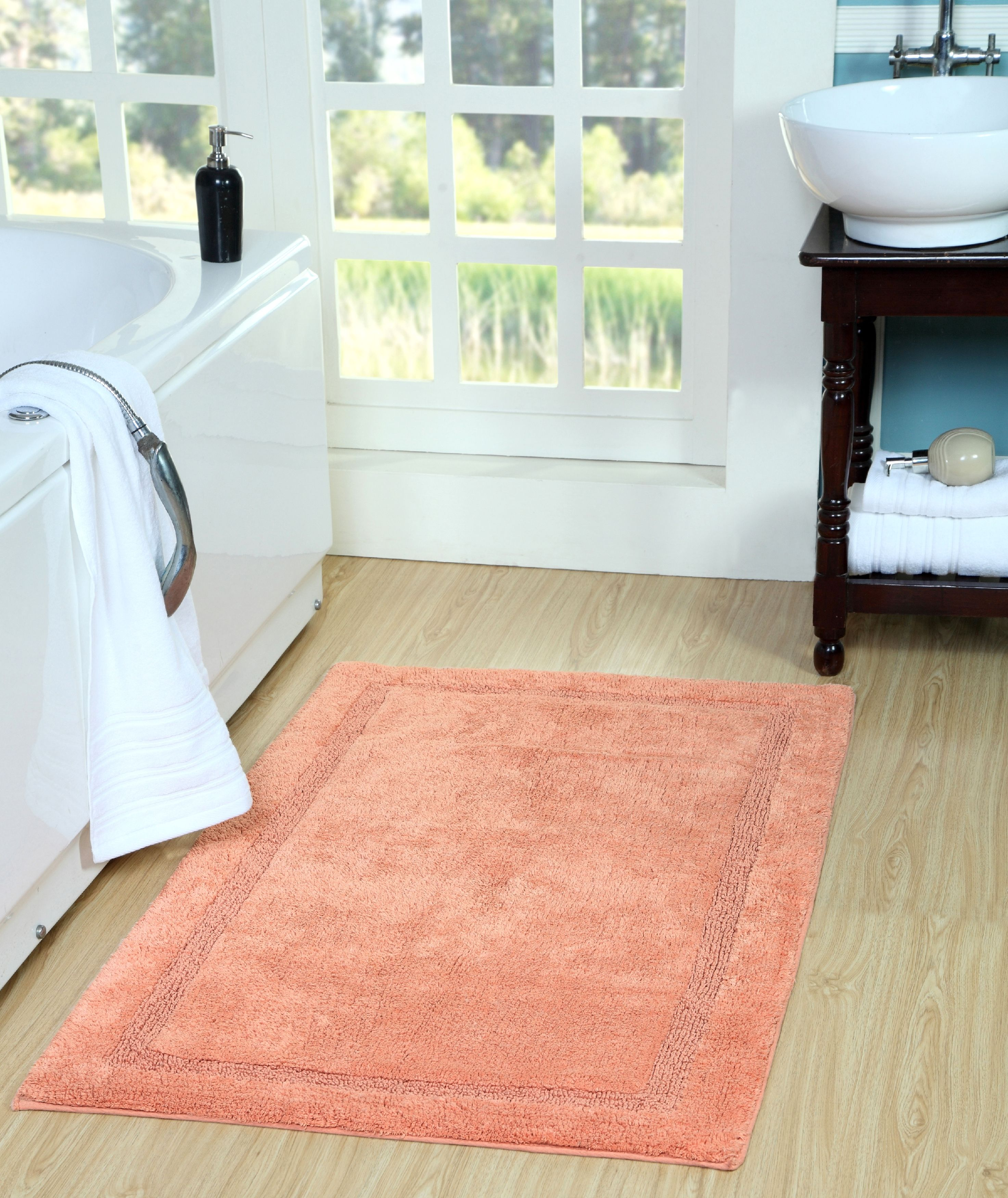 Saffron Fabs Bath Rug Solid Color, Textured Border, Pattern Regency, Assorted Colors and... by Saffron Fabs