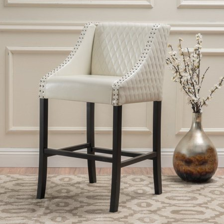 """GHP 27"""" Seat High Ivory Quilted Leather Luxury Counter Stool with Curved Armrests"""