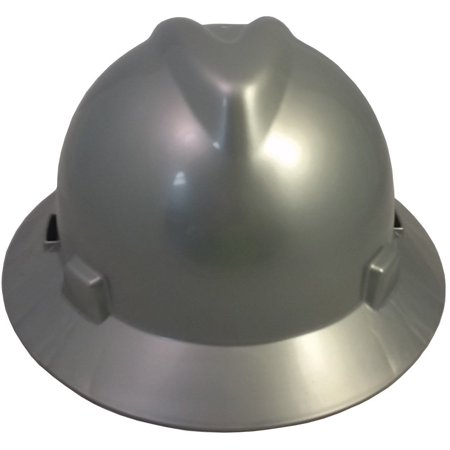 V Gard Full Brim Hard Hats With Fas Trac Suspensions Silver  The Wrap Around Brim Gives Added Safety From Sun  Rain  Snow  And Falling Objects  By Msa
