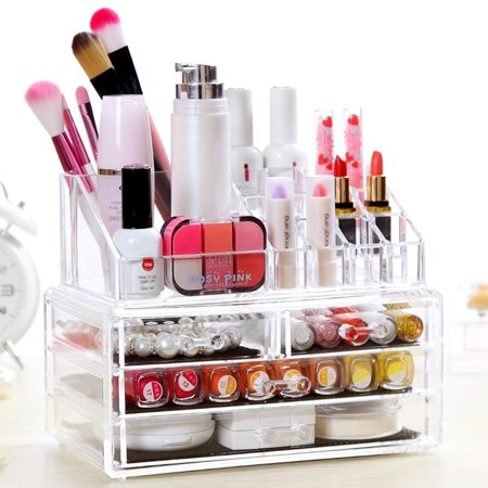 119cfc5592f5 Clear Acrylic Tabletop Cosmetic Organizer 4 Drawers Makeup Case ...
