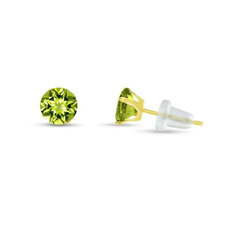 Round 3mm 10k Yellow Gold Genuine Peridot Stud Earrings, August Birthstone, (0.24 cttw) (Peridot Two Tone Earrings)
