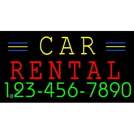 20 X36  Abc Led Signs Custom Car Rental Led Neon Sign With Phone   W Remote Flashing Controller
