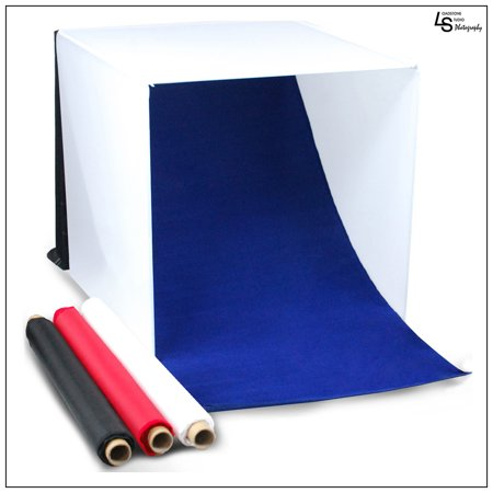 """20"""" Tabletop Product Photography Lighting Tent Cube Box with Multiple Color Backdrops in Red, Black, White, Blue by Loadstone Studio  WMLS0066"""