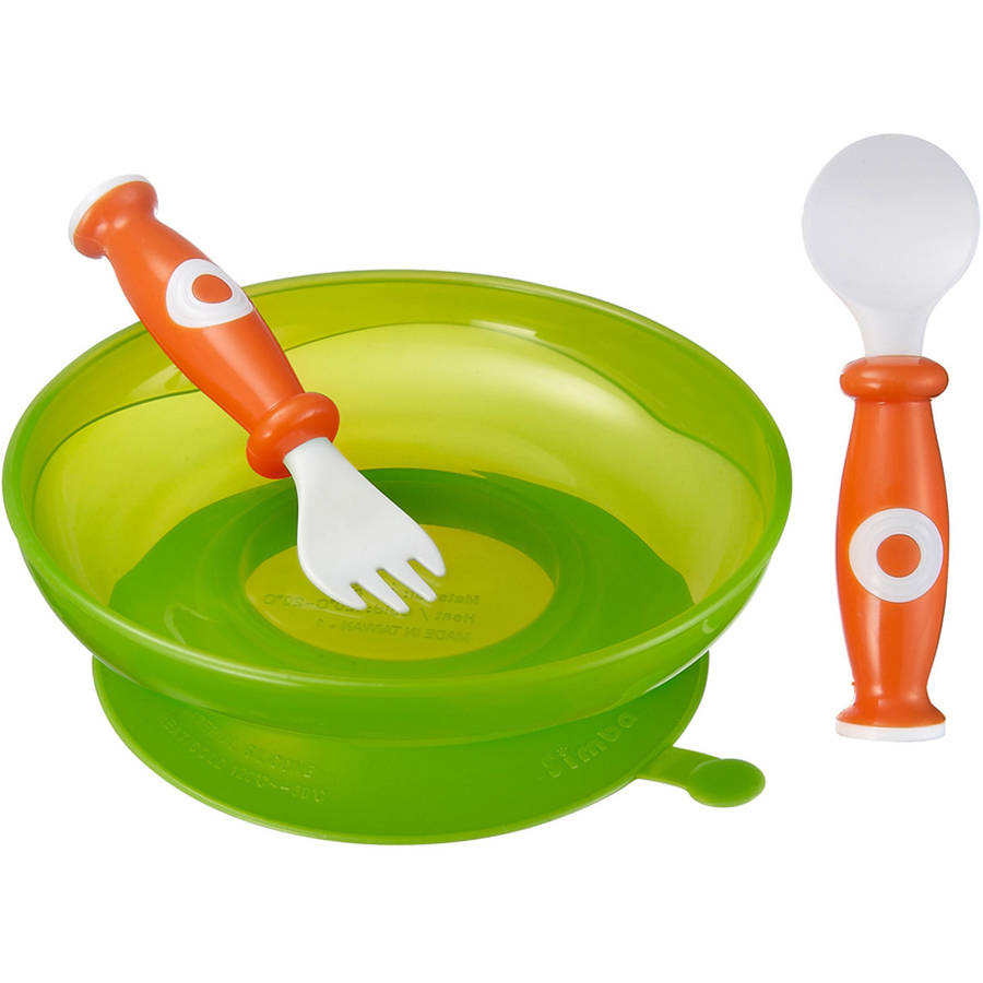 Simba P9604-G Suction Plate Spoon and Fork, BPA-Free, Green