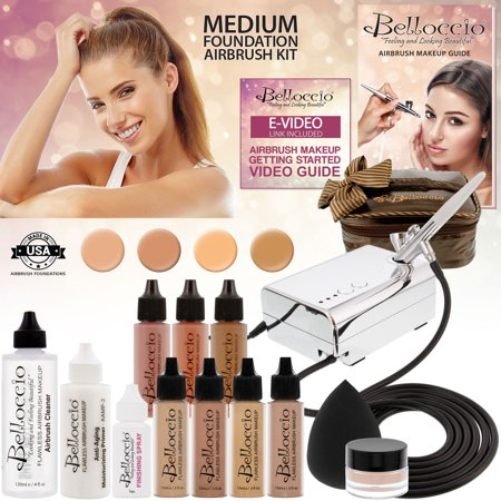 Belloccio Professional Deluxe Medium Shade AIRBRUSH COSMETIC MAKEUP SYSTEM Kit (Airbrush Makeup For Halloween)
