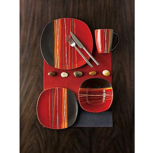 Better Homes & Gardens Bazaar Dinnerware, Teal, Set Of 16 by Gibson Oveseas Inc.