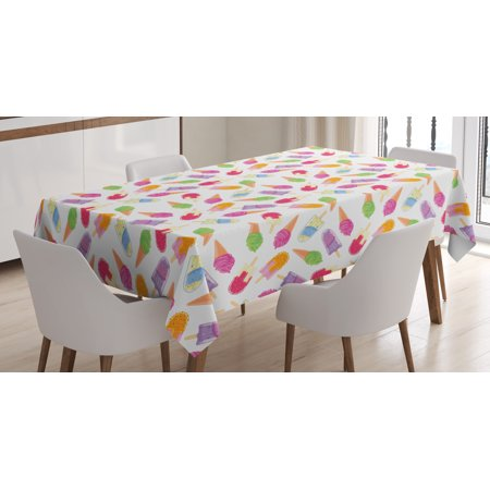 Ice Cream Table (Ice Cream Tablecloth, Cartoon Style Cones with Vibrant Colored Creamy Scoops and Popsicles Sweet Tooth, Rectangular Table Cover for Dining Room Kitchen, 60 X 84 Inches, Multicolor, by)