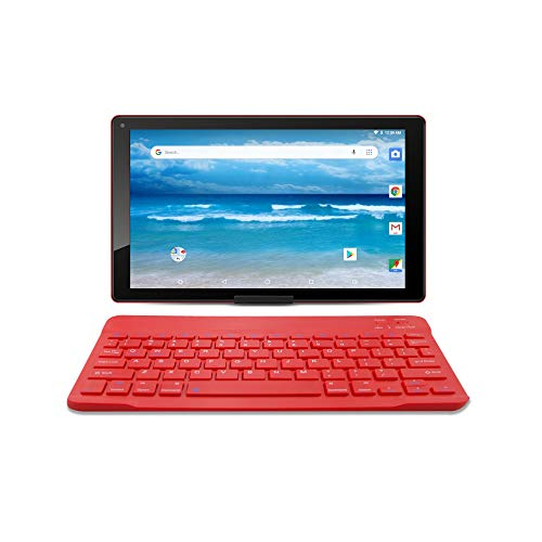 "10.1"" Android 8.1 Oreo HD Tablet by Azpen Google Certified and Bluetooth Keyboard Sleeve and Stand (Red)"