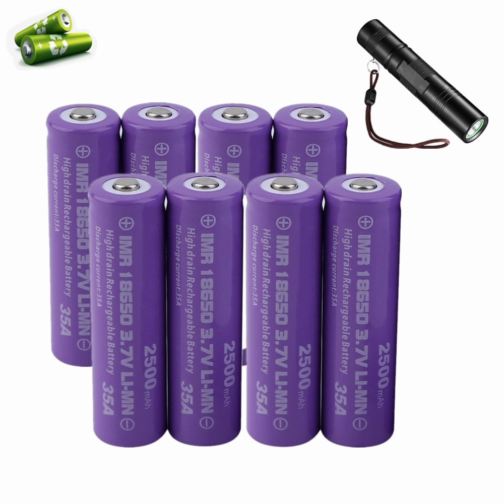 18650 Battery 8Pack 3.7V 2500 mAh For Torch Flashlight Replacement Battery Recharge Up To 1000 Cycles Purple
