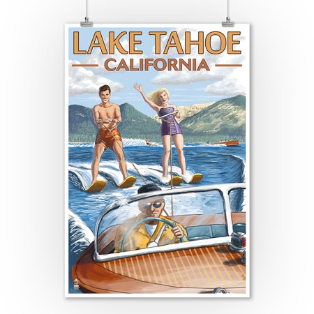 Lake Tahoe, California - Water Skiing Scene - Lantern Press Artwork (9x12 Art Print, Wall Decor Travel (Best Lakes In California For Jet Skiing)