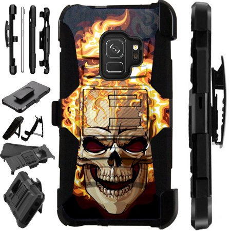 For Samsung Galaxy A6 (2018) Case Armor Hybrid Silicone Phone Cover Stand LuxGuard Holster (Flaming Skull Fire)