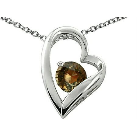 Star K Genuine 7mm Round Smoky Quartz Heart Pendant Necklace in Sterling Silver
