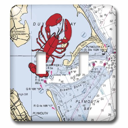 Baby Switchplate (3dRose Print of Plymouth Bay Chart With Lobster - Double Toggle Switch )