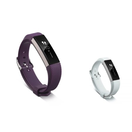 Fitbit Alta HR and Fitbit Alta Replacement Bands 2 PCS BUNDLE SET, by Zodaca Soft TPU Rubber Adjustable Wristbands with Secure Metal Buckle Watch Band Strap For Fitbit Alta HR / Alta - Purple + White