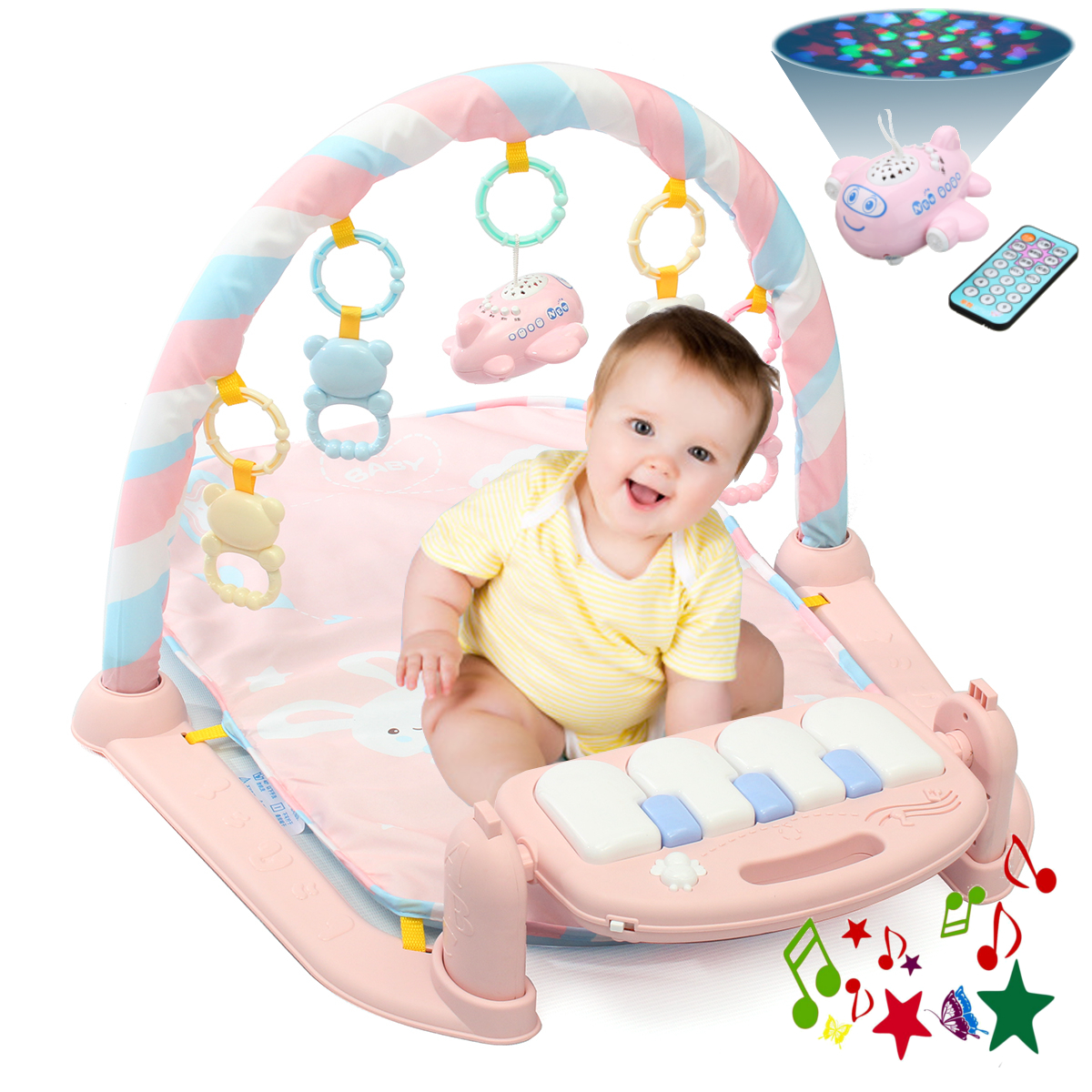Baby Play Mat Gym- 3 in1 Newborn Infant Baby Musical Piano Play Mat Blanket Kids Activity Carpet Rug