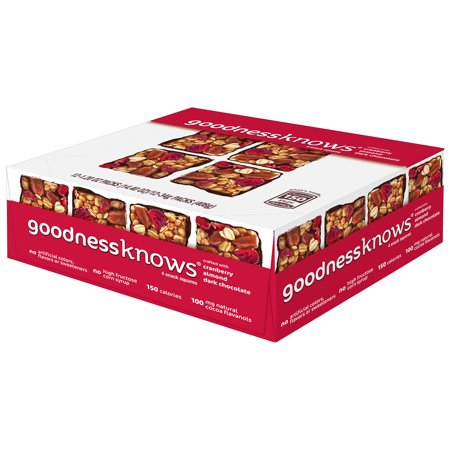 Dark Brown Snake - (4 Pack) goodnessknows Cranberry, Almond and Dark Chocolate Snack Square Bars, 12 Pack