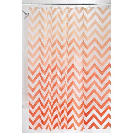 """InterDesign Ombre Chevron Fabric Shower Curtain, Standard 72"""" x 72"""", Coral/Multi"""