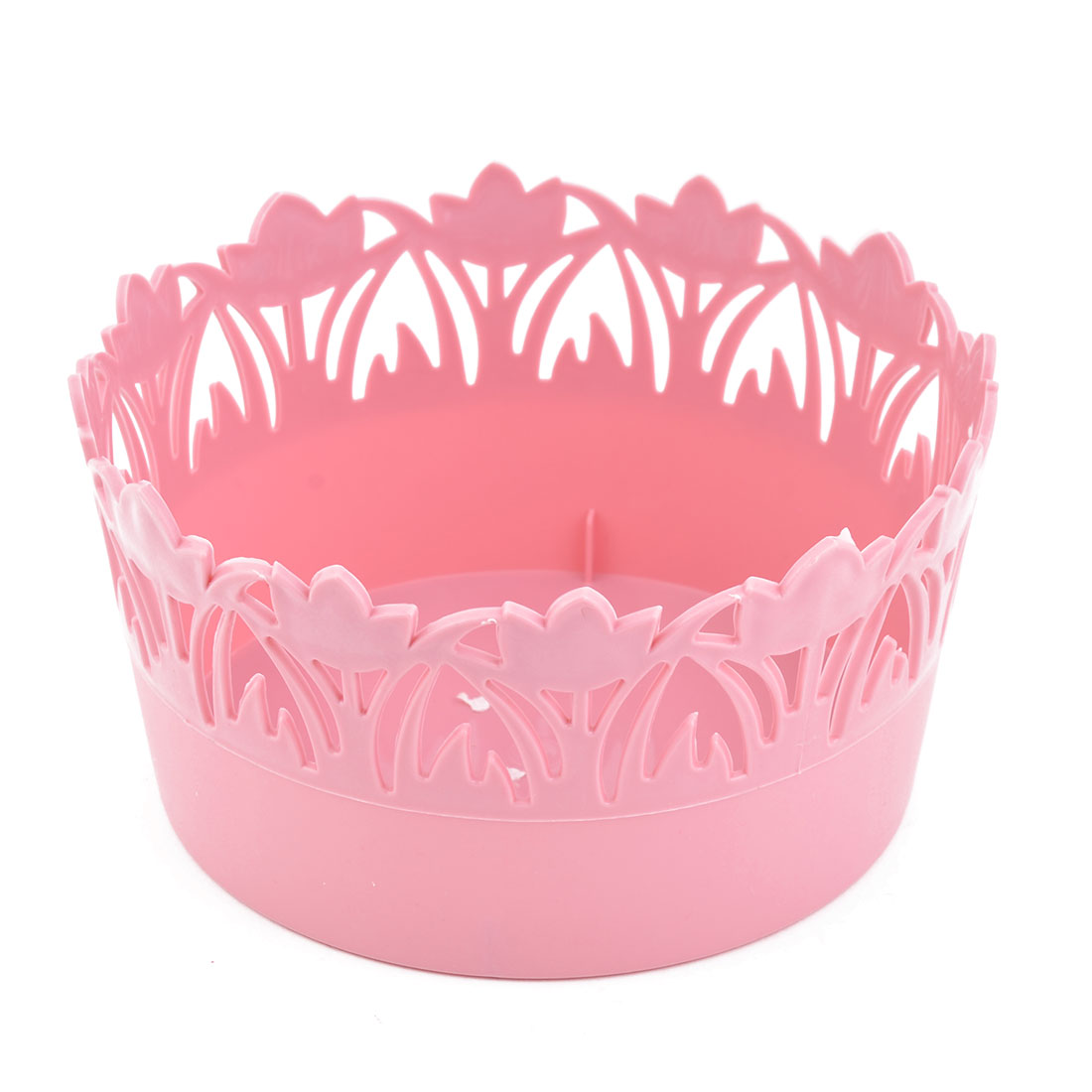 Home Plastic Flower Design Hollow Out Holder Storage Basket Box Container Pink