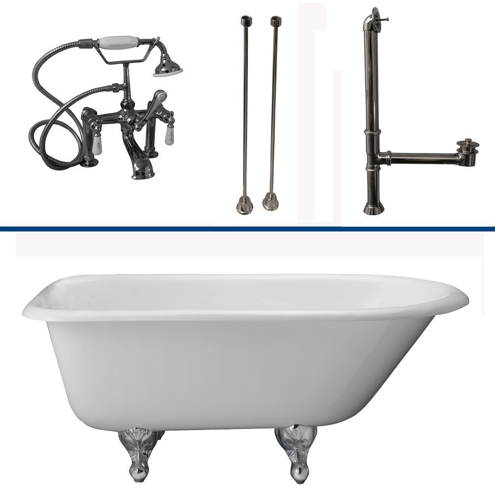 "Barclay TKCTR7H60-CP1 Tub Kit 60"" CI Roll Top, Tub Filler, Supplies, Drain-Chro"