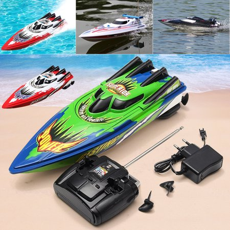(High Speed Racing Boat Toy Ship Radio Remote Control Twin Motor RC Boat Christmas Kids Children Birthday Gift + US Adapter)