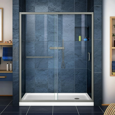 Shower Door Base (DreamLine Infinity-Z 32 in. D x 60 in. W x 74 3/4 in. H Clear Sliding Shower Door in Brushed Nickel and Right Drain White Base)