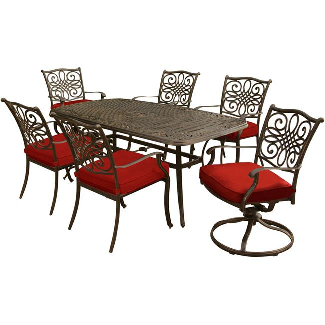 72 x 38 in. Traditions Dining Set with Two Swivel Rockers, Four Dining Chairs & Cast-Top Table, Red - 7 Piece