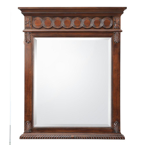belle foret jordheim 28 in. w x 35 in. h single wall hung mirror in antique cherry