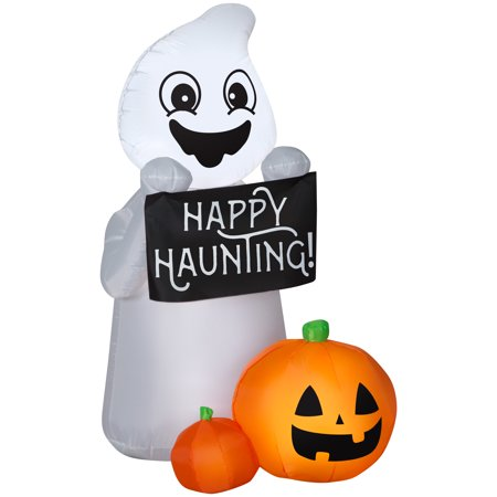 Halloween Airblown Inflatable Happy Haunting Ghost Scene 4FT Tall by Gemmy Industries](Halloween Airblown Inflatables)