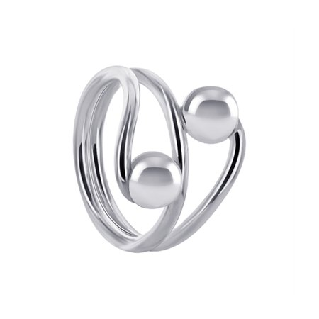Gem Avenue 925 Sterling Silver wrap around with ball Ring ()