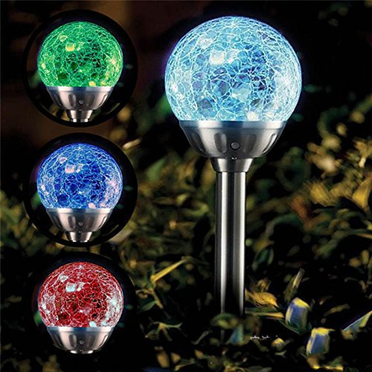 2 Colour Changing Led Stainless Steel Solar Stake Lights: 1pcs Solar Lights Outdoor, Cracked Glass Ball LED Garden