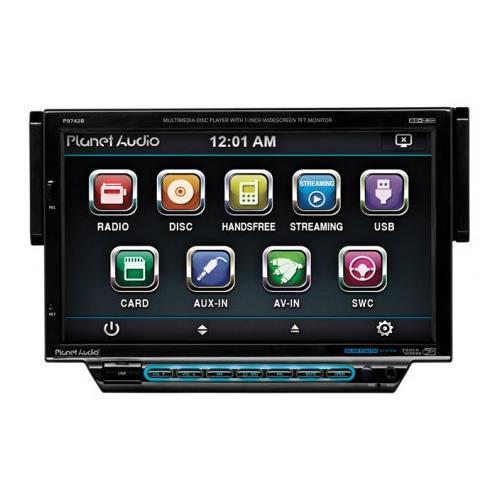 """PLANET AUDIO P9742B 7"""" Single-DIN In-Dash Motorized Slide-down Touchscreen DVD Receiver (with Bluetooth(R))"""