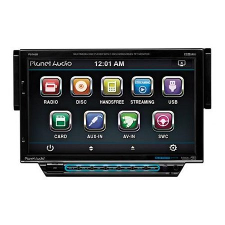PLANET AUDIO P9742B 7″ Single-DIN In-Dash Motorized Slide-down Touchscreen DVD Receiver (with Bluetooth(R))