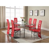 Los Feliz Contemporary Red Dining Chair, Set of Two