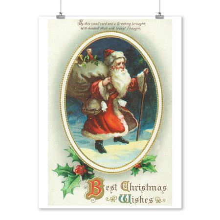 Best Christmas Wishes Scene with Santa Holding Big Bag (9x12 Art Print, Wall Decor Travel