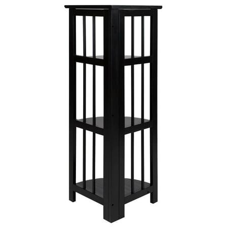 4-Shelf Corner Folding Bookcase-Black