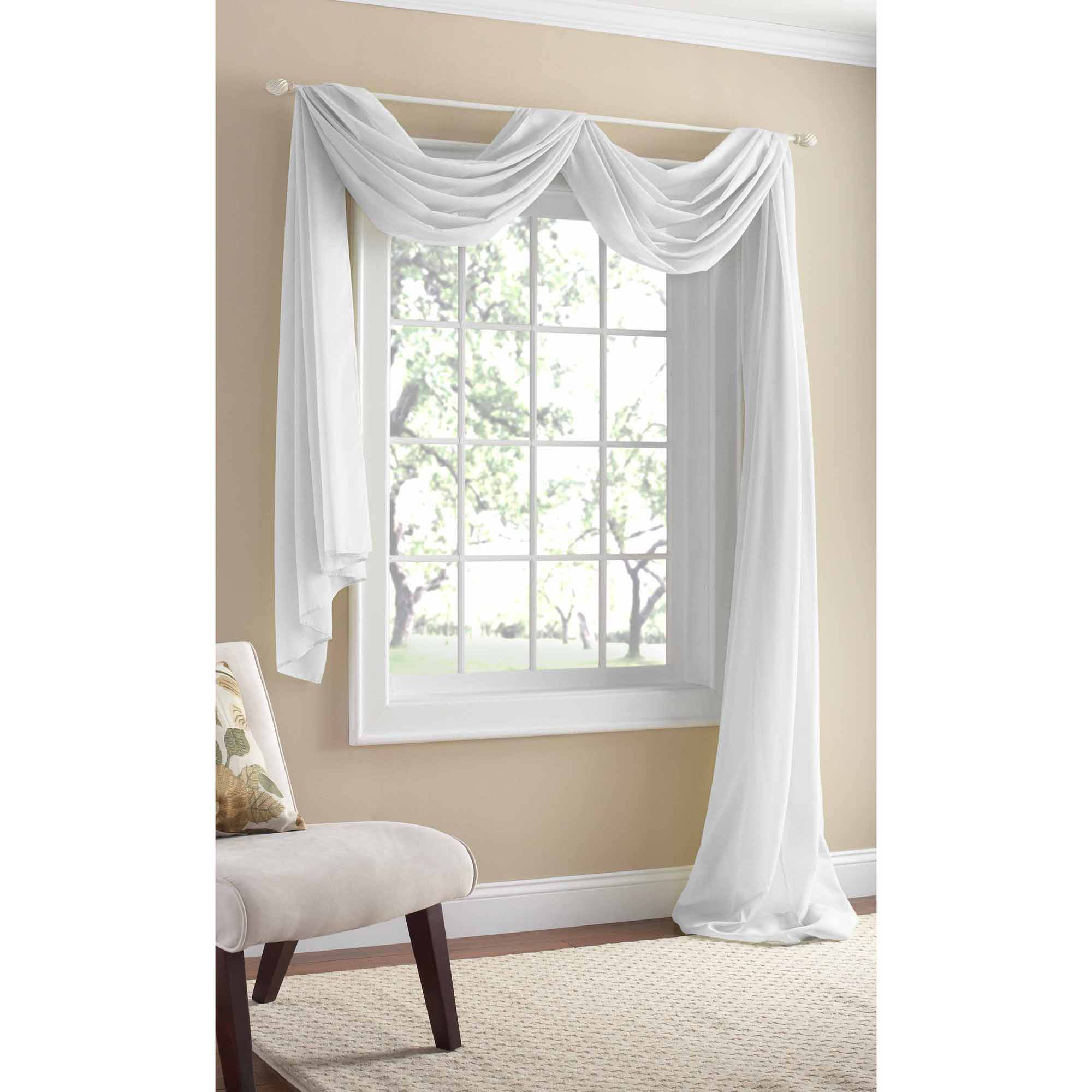 Mainstays Marjorie Sheer Voile Curtain Scarf, 59x216