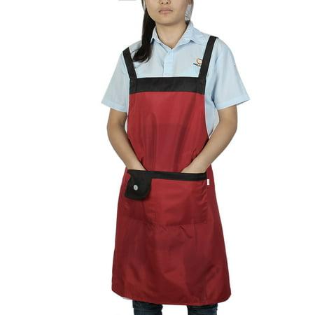 Household Kitchen Waterproof Black Red Cooking Apron Bib Dress w Pockets - image 4 of 4