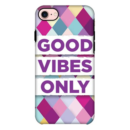 Iphone Case Vibe Iphone (iPhone 7 Case Premium Handcrafted Designer Shockproof Dual Layer Protection Cover Printed Hard Back Case With Screen Cleaning Kit for iPhone 7- Good Vibes)