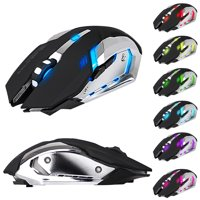 Wireless Optical Gaming Mouse w/ USB Receiver, 7 Color Changing Wireless Laptop Mouse, Rechargeable Game Mice with 4 Adjustable CPI Levels for PC, Laptop, Computer, Gaming Players