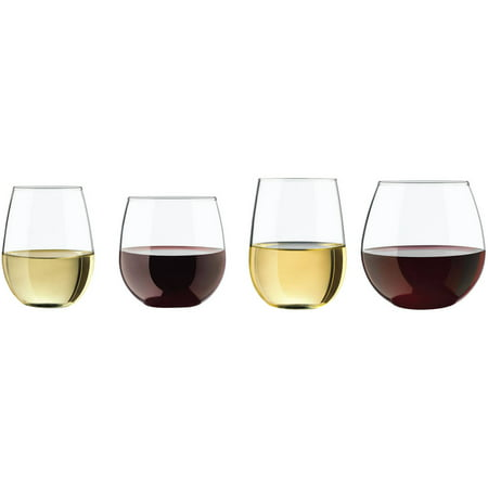 Libbey Vineyard Assorted Clear Stemless Glasses, Set of 8