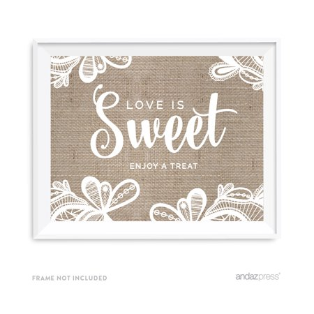 Love Is Sweet, Enjoy A Treat Burlap Lace Wedding Party Signs - Wedding Treats