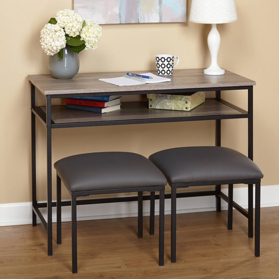 Sofa Table With Stools: Jaxx Console Table With 2 Stools, Black/Grey
