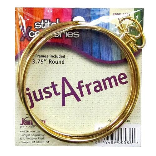 """Janlynn Stitch Xcessories 3.75"""" Round Frame, Gold, 2pk"""