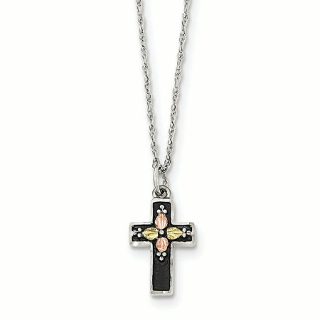 Landstrom's Black Hills Sterling Silver and 12K Gold Accent Antiqued Cross Pendant with 18